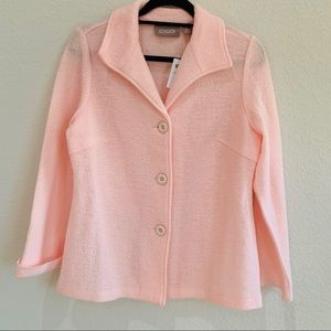 New Chico's Pink Wool blazer Jacket Size 0 Small